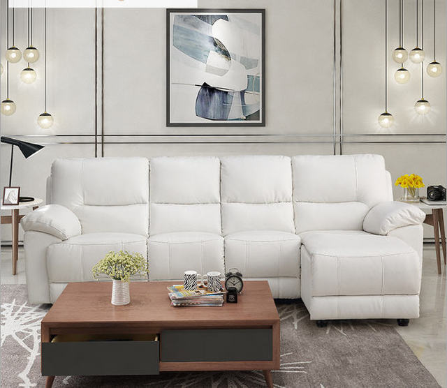 Whit Leather Living Room Sofa Set L Corner w/ Electric Recliners 4