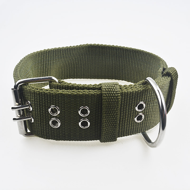 Adjustable Belt Buckle Dog Collar Thick Durable Nylon Pet Supplies Knit Collar Dog Collar Chain Traction Double-breasted Leashes