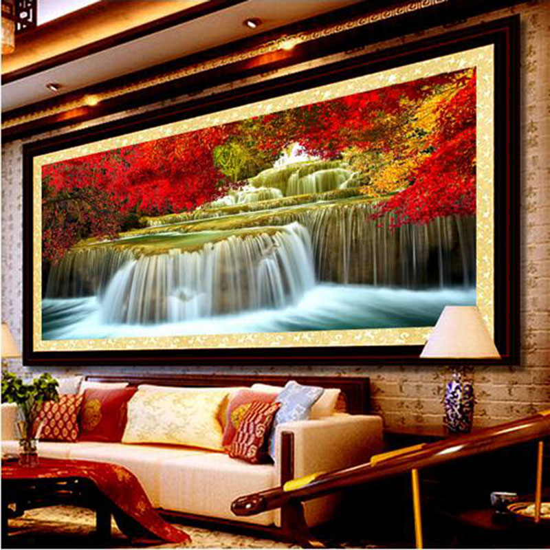 "Full Diamond Painting ""water Will Amass Wealth"" diy Diamond Embroidery Cornucopia Like Landscape Blessing 3 Size zx"