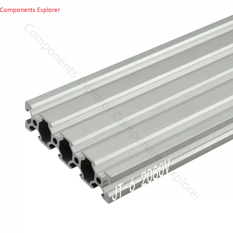 Arbitrary Cutting 1000mm 2080 V-slot Aluminum Extrusion Profile,Silvery Color.