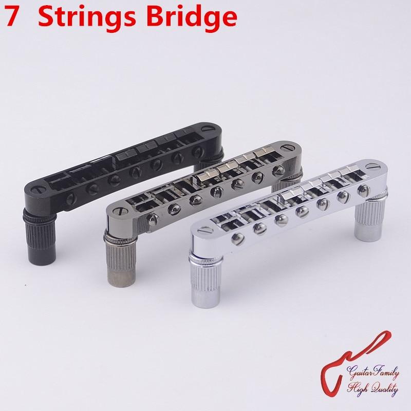 1 Set GuitarFamily  7 Strings Tune-O-Matic  Style Electric Guitar  Bridge  ( #1255 ) MADE IN KOREA pirastro gold e evah pirazzi violin strings 419521 full set made in germany free shipping