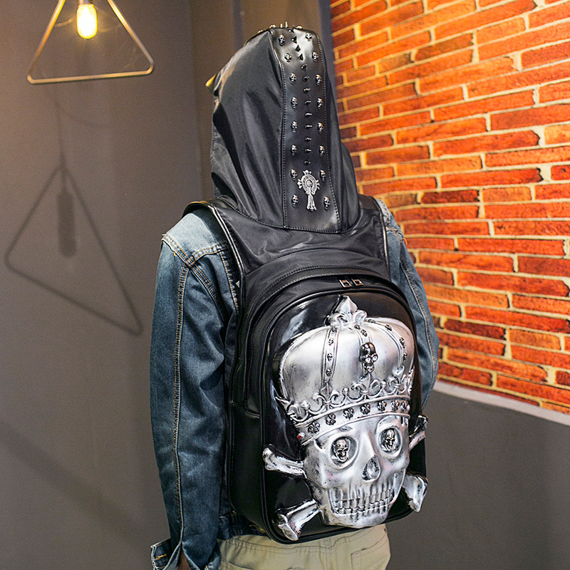 Large Capacity Men Restore 3D Cool skeleton backpack gothic embossing bag leather 3D Shoulder Bag with Hood Travel Backpack mco large capacity men restore 3d cool lion backpack gothic embossing bag leather shoulder bag with hood cap travel backpack
