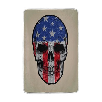 Kid Couch Bed | American Flag Sugar Skull Blanket Soft Warm Cozy Bed Couch Lightweight Polyester Microfiber Blanket For Kids Women Boy