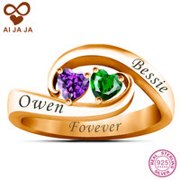 AIJAJA 925 Sterling Silver Personalized Two Heart Stones Free Engraving Promise Ring Rose Gold Color Wedding
