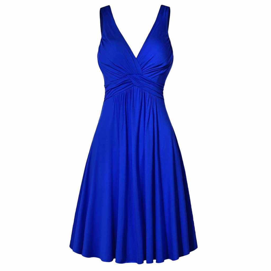 JAYCOSIN 2019 New Summer Women Dress Formal Sexy Solid Plus Size V-neck Retro Sling Pleated Slim Flare Party Sundress 9032125
