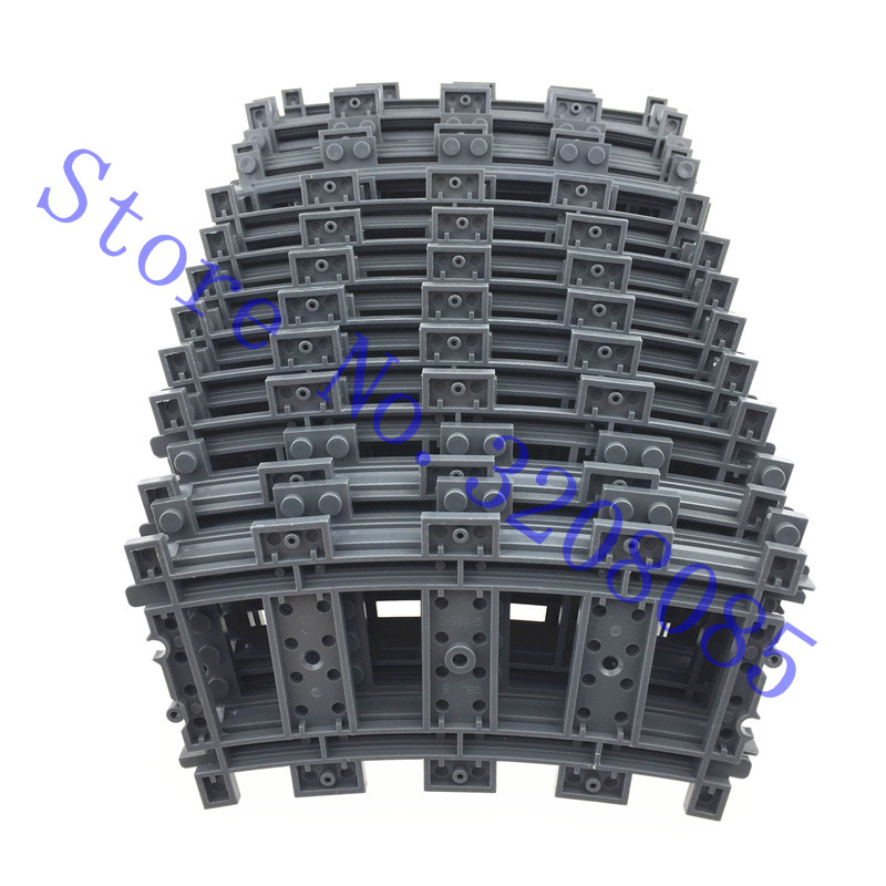 10pcs/lot City Trains Train Track Rail Curve Rails Building Blocks Set Bricks Model Kids Toys Compatible Modern Design