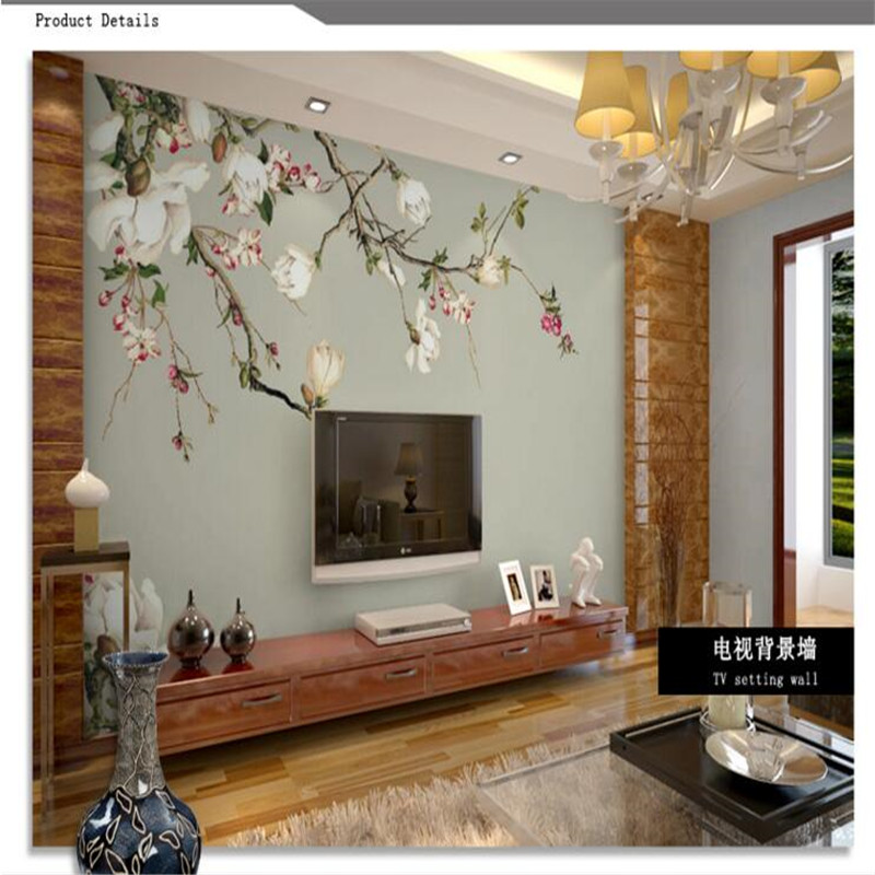 beibehang photo wallpaper High quality silk cloth wallpaper / 3d TV background covering magnolia flowers wall paper wall mural beibehang custom silk screen wall paper fashion beautiful three dimensional flowers european tv background 3d wallpaper tapety