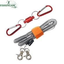 Red/Blue Magnetic Release Holder Landing Net Tackle with 3M 22LBS Fishing Safety Line Combo Kit