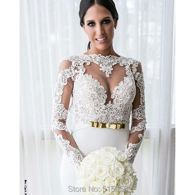 Vintage lace long sleeves open back white chiffon mermaid for Gold vintage wedding dresses