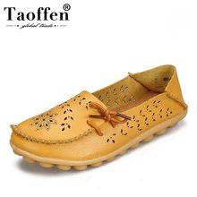 TAOFFEN Women Real Leather Flats Shoes Flower Hollow Bowtie Peas Summer Fashion Daily Loafers Size 34-44