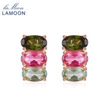 LAMOON Classic 100% Natural Multi-Color Oval Tourmaline 925 Sterling Silver Jewelry Rose Gold Plated S925 stud Earrings LMEI035
