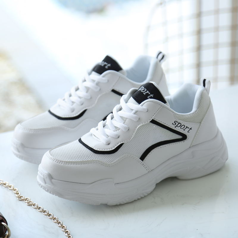 LAISUMK New Spring Fashion Lady Casual White Shoes Women Sneaker Black Leisure Thick Soled Shoes Flats Cross tied Lace Up Soft in Women 39 s Vulcanize Shoes from Shoes