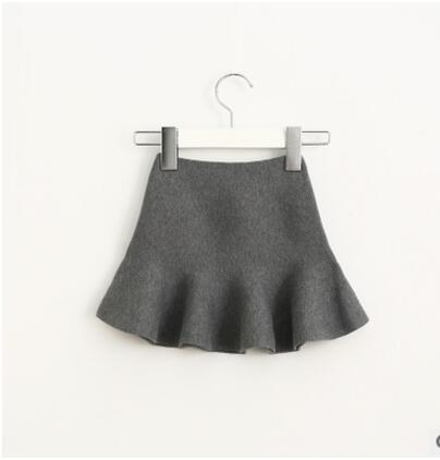 Очаровательная юбка для маленьких девочек; детские юбки-пачки с оборками; детская юбочка; уютные вязаные вечерние юбки; одежда для свадьбы; Рождественский подарок - Цвет: grey