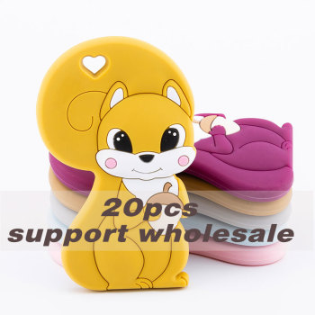 BPA Free Silicone Beads Childen's Goods Silicone Squirrel Teether Infant Rodent Necklace Kids Bite Mustard Tiny Rod Baby Teether