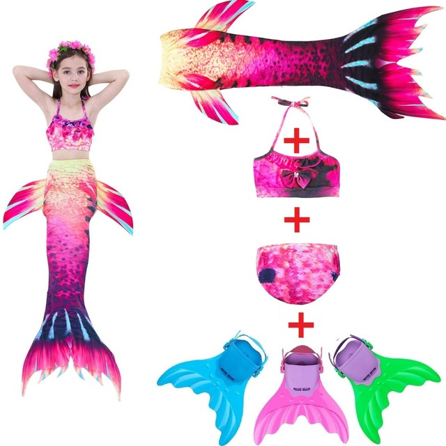 e4d7ffe97 Cola de sirena con aletas traje de baño sirena traje de baño para niños  Bikini sirenita