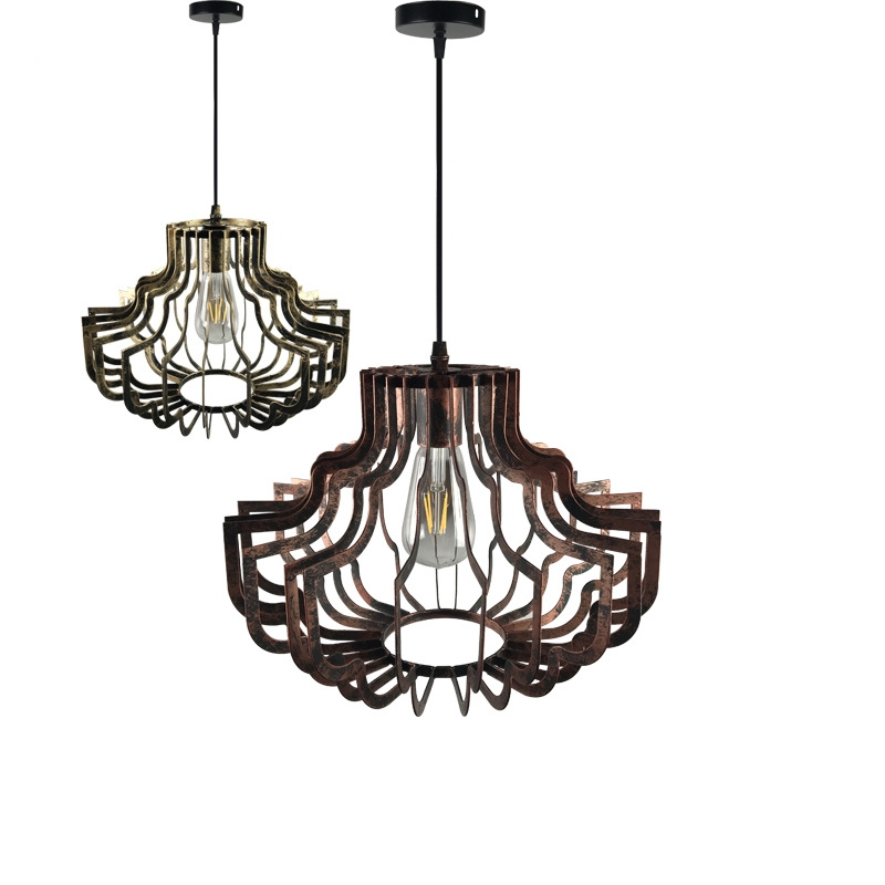 Européen rétro fer oiseau cage suspension lampe Vintage forgé E27 lanterne pendentif lumières pour Restaurant hôtel Villa thé couloir