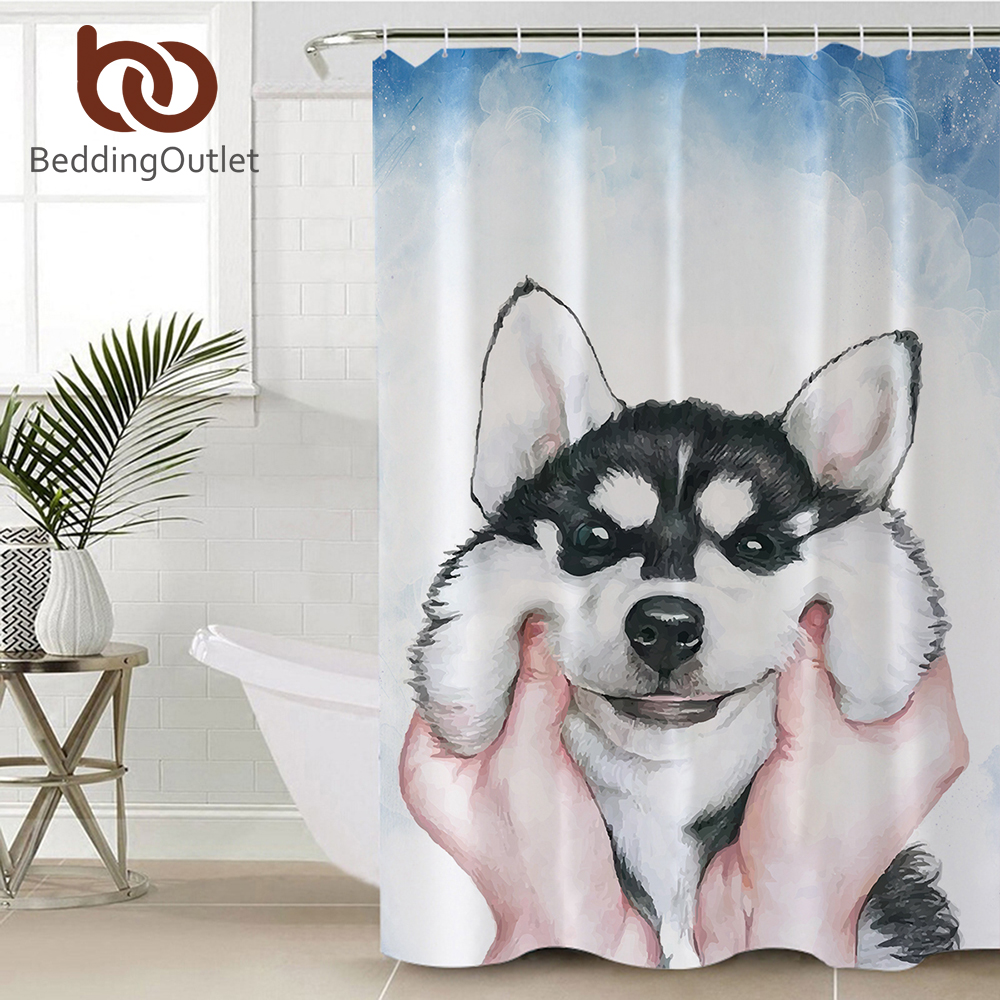 Nature Shower Curtain Dogs Near the River Bathroom Accessories Waterproo Fabric