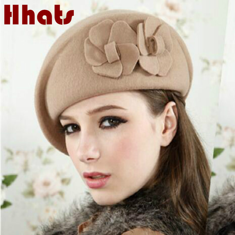Qui dans la douche réel laine femmes chapeau d'hiver chaud floral de laine fedora chapeau de feutre vintage lady floppy beanie cap femelle skullies