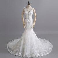 Sexy Mermaid Lace Crystal Chapel Train Bride Wedding Dresses 2015 Cheap Bridal Gown Vestido De Novia