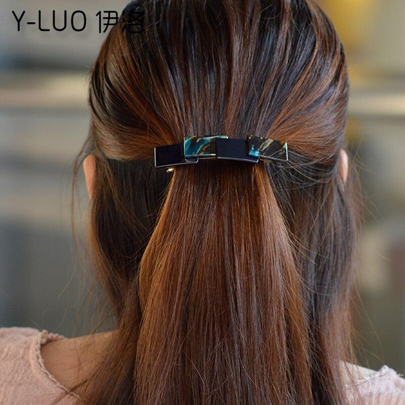 Women headwear cute hair clip for girls vintage hair barrette simple patchwork korean hair accessories for women
