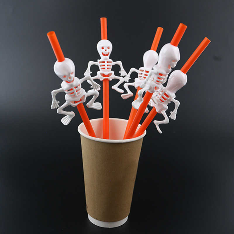 Sale Disposable Vampire Straw Halloween Party Skeleton Pumpkin Cup Fun Plastic Decoration Straw