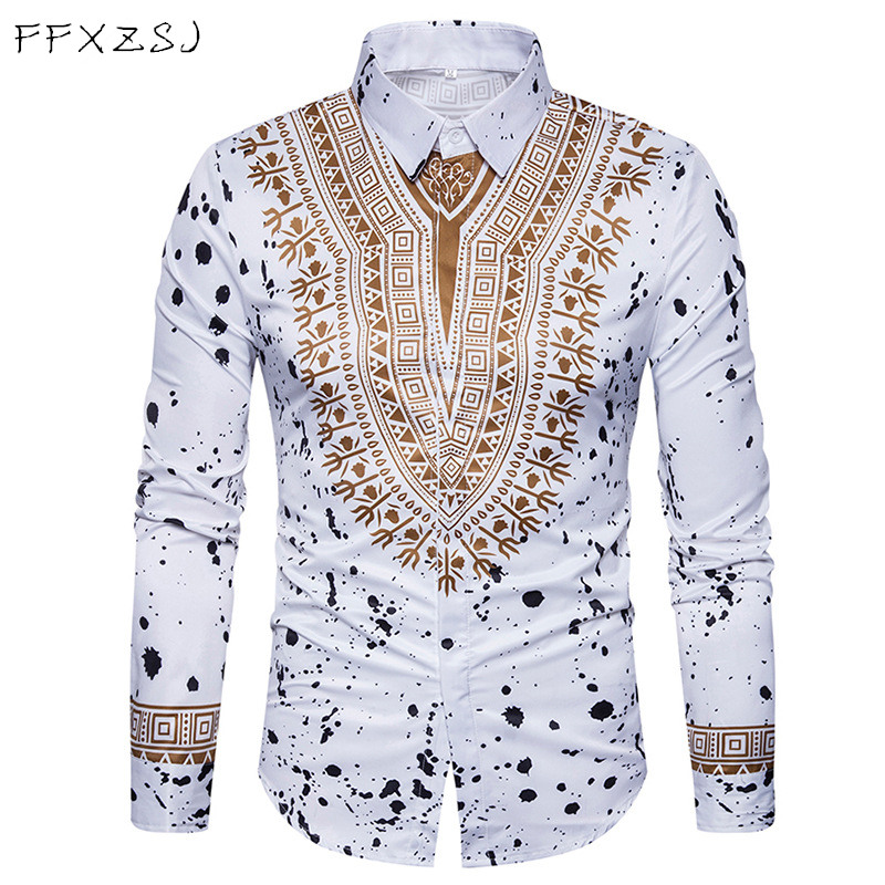 New Tops Men's Casual Shirt Spring 3d National Style Printing Floral Pattern Men Fashion Edition Long Sleeve Shirt Eu Size