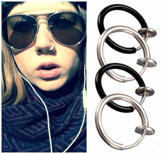 2018 bijoux de corps unisexe boucles d'oreilles 3 couleurs choisir véritable Goth Septum Style Punk faux Piercing Clip sur cerceau Boby lèvres nez anneaux