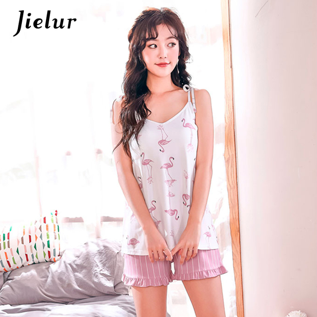 Jielur Sexy Print Sleeveless Pajama Sets Summer Chest pad Women Home Suit Lingerie Nightgowns Pijamas Shorts Sleepwear Dropship
