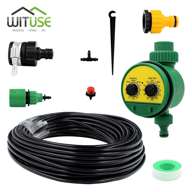 WITUSE 5m/10m/15m/20m/25m/30m Drip Irrigation System DIY Timer Automatic Plant Flowers Self Garden Hose Micro Drip Watering Kits