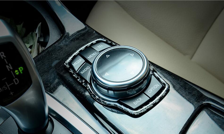 Carbon Fiber Idrive Media Control Button Frame Trim For Bmw F20 F22 F30 F31 F32 F10 1 2 3 4 5