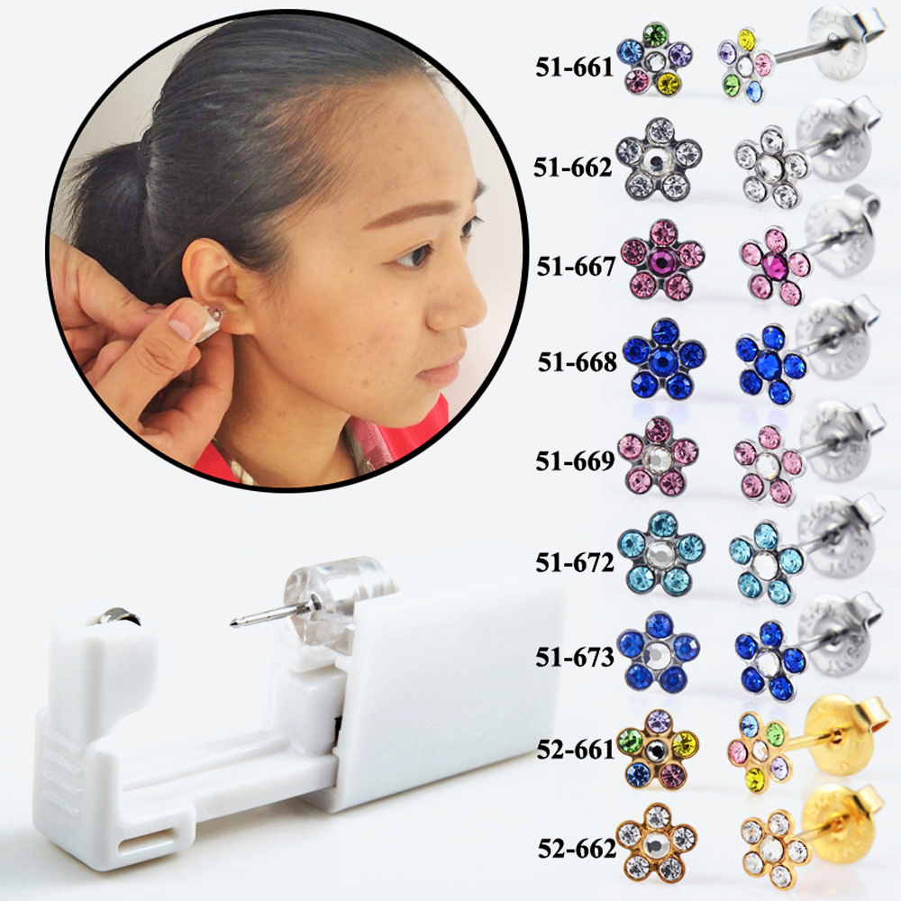 1Unit Safety Sterlised Disposable NO PAIN Piercing Device Machine Tools Easy USE Ear Piercer With Zircon Flower Design Jewelry