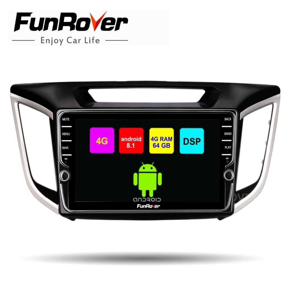 Funrover android 8.1 2 din voiture multimédia lecteur dvd raido Pour Hyundai IX25 Creta gps navigation stéréo DSP octa 8 core SIM WIFI