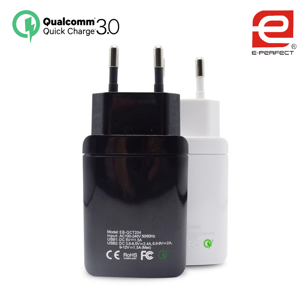 Fast Charge Qc3.0 Two USB Interface Europe Regulation Travel Charger Mobile Phone One Drag Two Phone Charger for Iphone