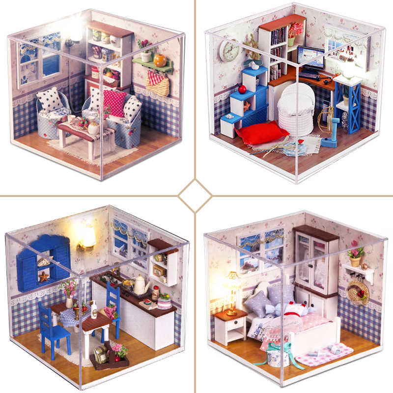 Doll House Furniture DIY Miniature 3D Model Doll Houses Wooden Miniaturas Boneca Casa Dollhouse Toys for Children Birthday Gifts
