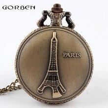 Vintage Antique Bronze Paris Eiffel Iron Tower Necklace Quartz Pocket Watch Steampunk P06 relogio de bolso
