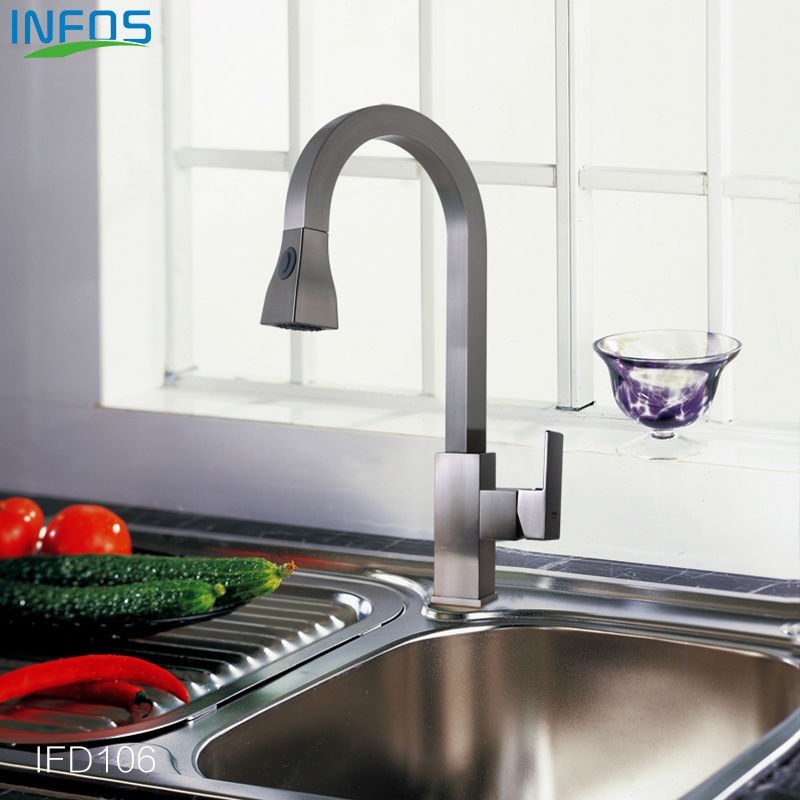 INFOS Brass Spray Rotary Kitchen Mixer Brushed Pull Out Sink Faucet Deck Mounted Hot And Cold Water Tap grifo osmosis IFD106 kitchen chrome plated brass faucet single handle pull out pull down sink mixer hot and cold tap modern design