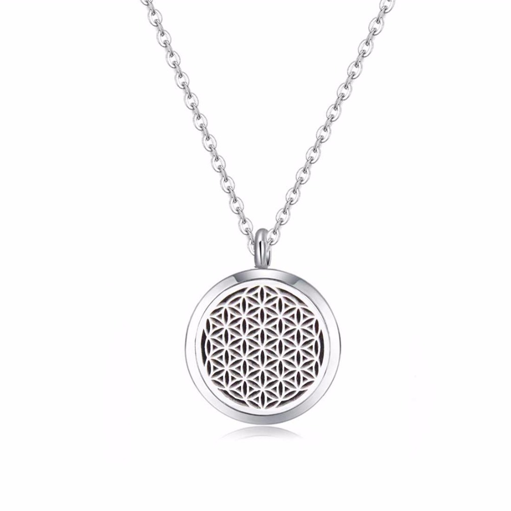 10pcs Silver Color Seed Of Life Aromatherapy Essential Oils 316L Stainless Steel Diffuser Locket Necklace