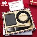 BISON джинсовый мужской кошелек из натуральной кожи с ремнем в подарочной коробке, Воловья кожа, кошелек и ремень, набор, подарок для отца, друг...