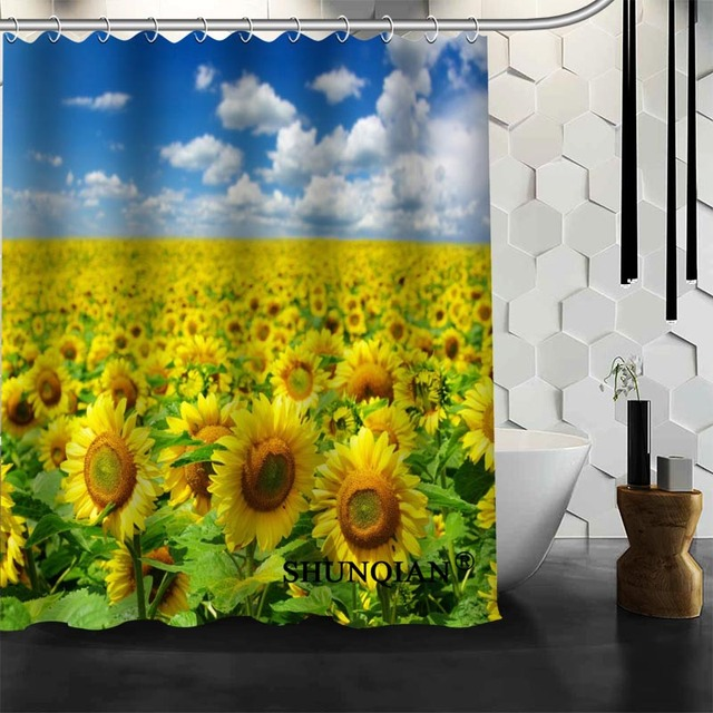 New Arrival Custom Sunflowers Shower Curtain Bathroom Accessories Polyester Fabric With Holes