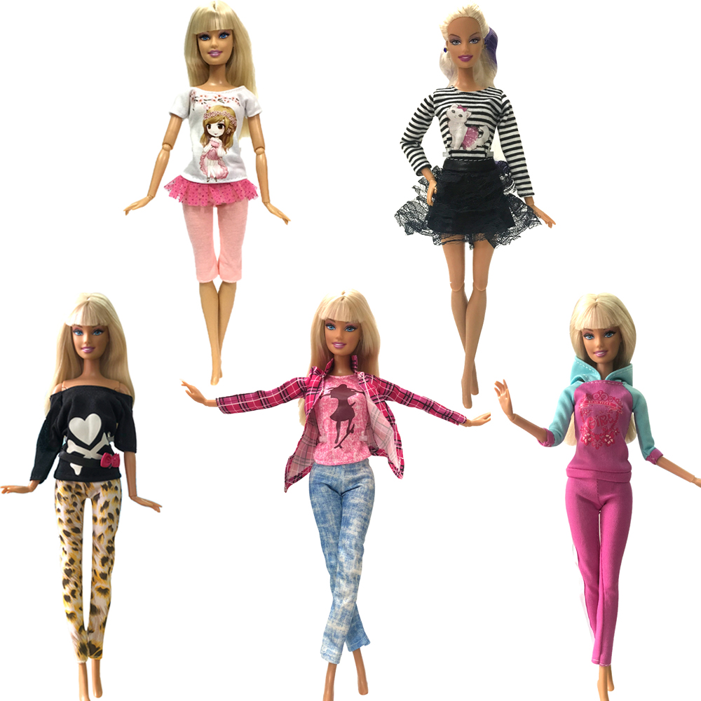 NK 5 Pcs/Set Newest Doll Outift  Handmade Party Clothes Top Fashion Dress For Barbie  Doll Accessories Child Toys Girls'Gift  DZ