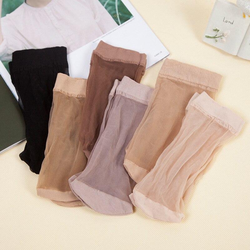 OLN 5 paires Cool respirant été EU36-46 Sexy noir peau chaussette Pure couleur qualité Flexible femmes filles chaussettes en soie livraison gratuite