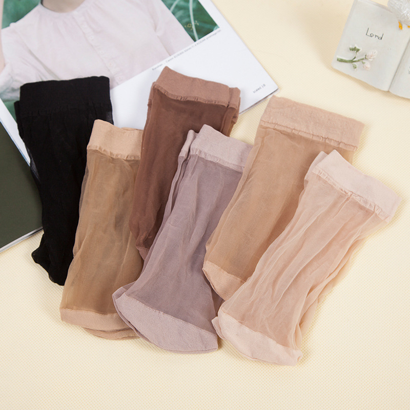 OLN 5 pairs Cool Breathable Summer EU36 46 Sexy Black Skin Sock Pure Color Quality Flexible Women Girls Silk Socks Free Shipping