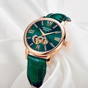 Image 2 - Reef Montre en cuir pour femmes, nouveau Design, cadran mécanique or Rose, vert, bracelet RGA1580, 2020