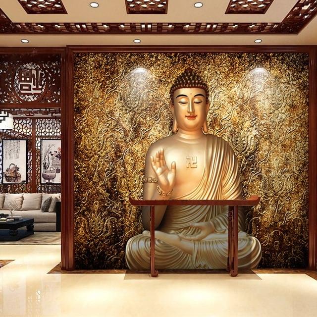 Buy free shipping retro buddha temple for Buddha mural wallpaper
