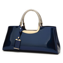 High Quality Fashion Patent Leather Structured Shoulder Handbag Women Evening Party Satchel Crossbody Top Handle Bags