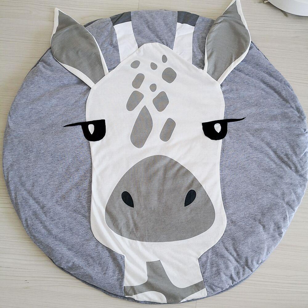 HTB1lFYlKXuWBuNjSszbq6AS7FXaQ Cartoon Animals Baby Play Mat Foldable Kids Crawling Blanket Pad Round Carpet Rug Toys Cotton Children Room Decor Photo Props
