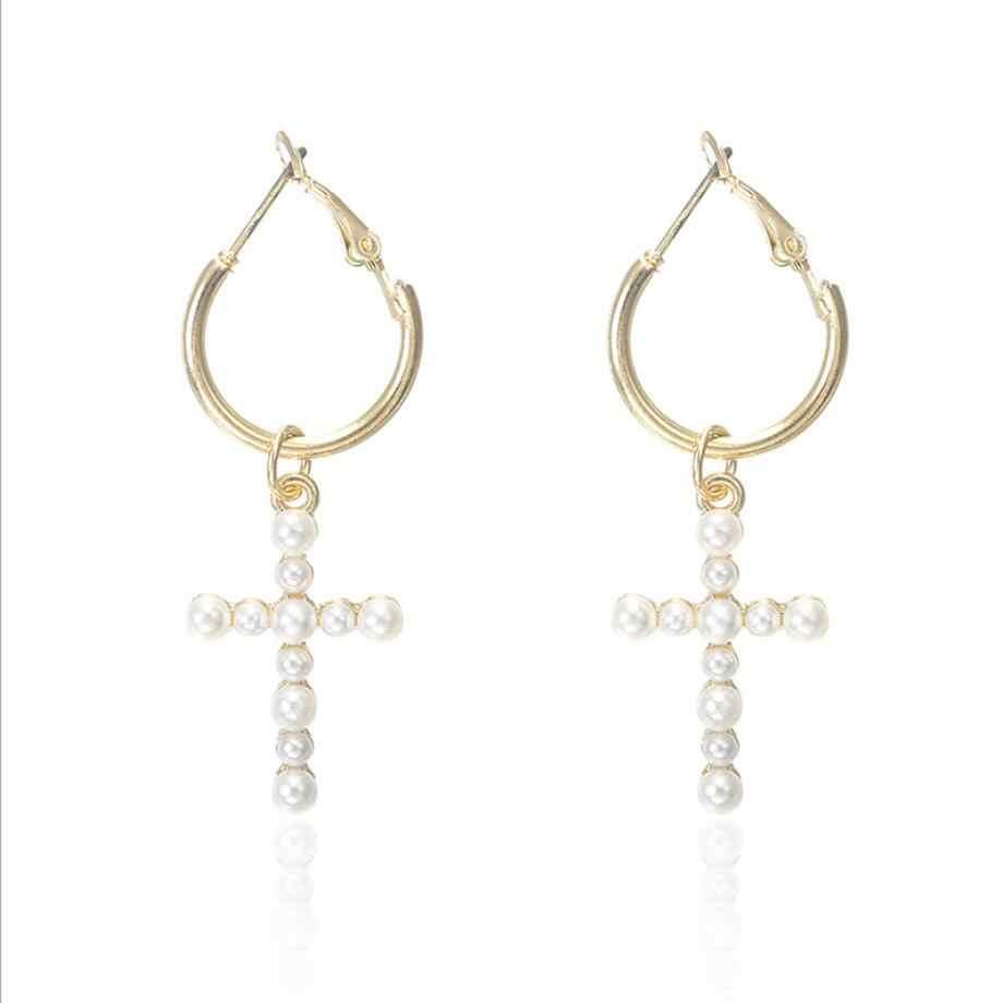 Fashion Trendy Cross Pendant Drop Earrings For Women White Imitation Pearl Baroque Bohemia Large Long Earrings Jewelry Brincos