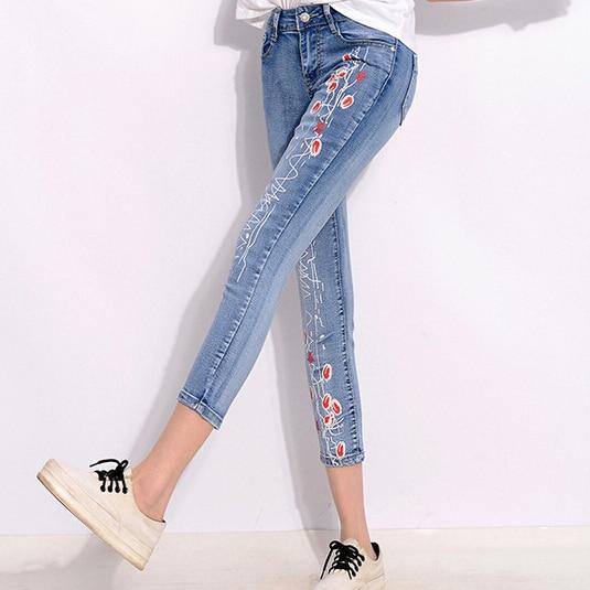 Summer Style Women Denim Jeans Flower Print Nine pants Skinny Jeans Pencil Pants