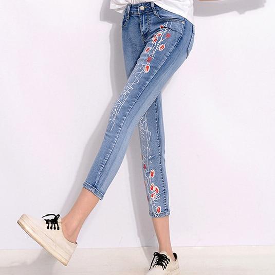 3028280e9c Summer Style Women Denim Jeans Flower Print Nine pants Skinny Jeans Pencil  Pants