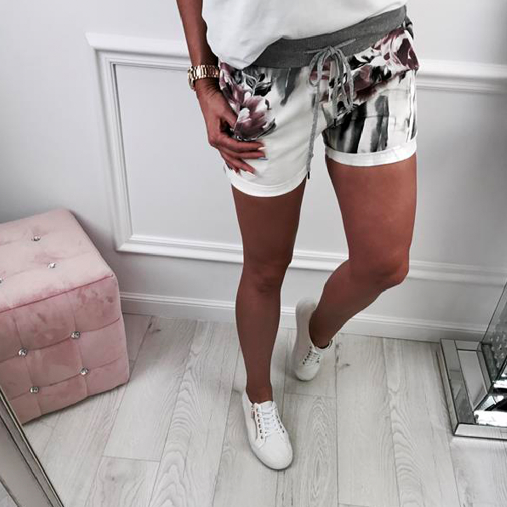 Women Shorts Flower Print Summer Casual Mid Waist Polyester Bandage Beach Party Hot Shorts Ladies Comfortable Shorts Femme H30(China)
